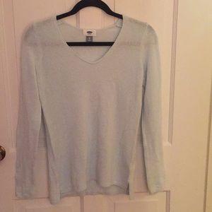 V-neck teal blue long sleeve shirt